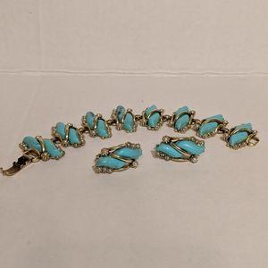 Jewelry - Gold Tone Bracelet And Earrings..
